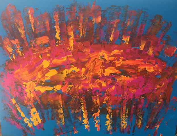 30 x 40 Dance of the Psycho Caterpillar, Large Acrylic Abstract Painting on Canvas done with pallet knif