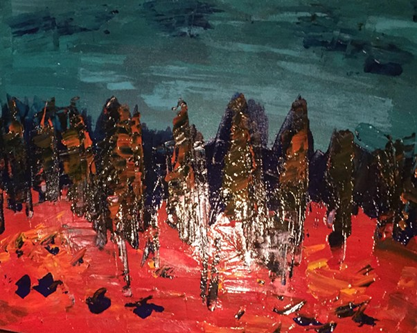 Spiders from Mars, 24 x 24 Acrylic abstract on woodboard done with pallet knife, marscape