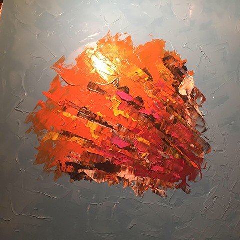 The Maniac - 24x24 Acrylic abstract painting on woodboard done with pallet knife - bright orange color - this is my brain on Trump