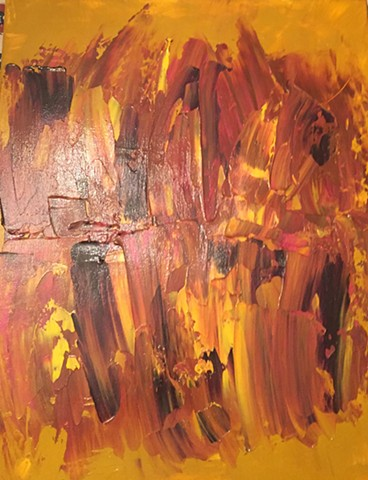 Infestation 18 x 24 Acrylic abstract painting on canvas done with pallet knife yellow, amber brown colors