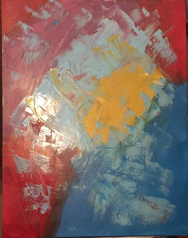 CNN 24 x 24 Acrylic abstract painting on canvas done with pallet knife red, yellow & blue