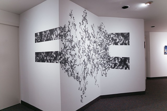 Equilibrium is a site-specific graphite drawing executed by John M. Adams on August 26-29, 2015 at the McLean Project for the Arts.
