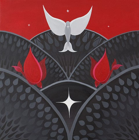 A group of three stylized birds, the red descends to black, the silver rises to red.