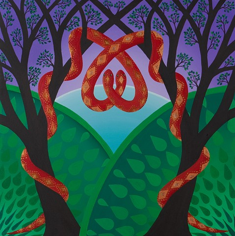 "From sketches sparked by the opening credits of ""The Lady Eve."" My stylized snakes wrap around jungle trees and each other."
