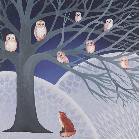 A family of Owls consider a Red Fox and each other as the fox considers them back.
