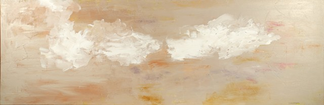 soft colors, sky-cape, clouds, primary coral, textured, abstract interpretation