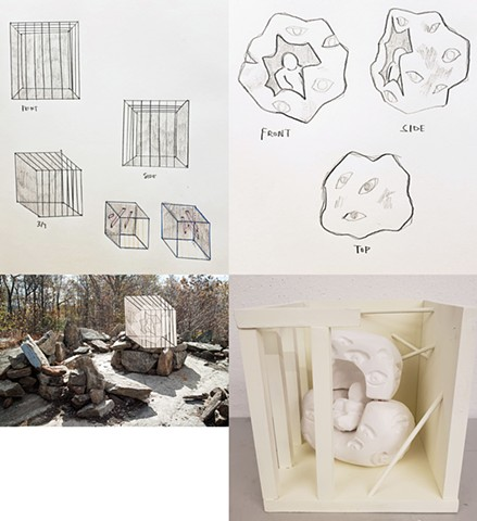 "Madeleine Parsons School of Design First Year Program:  Space & Materiality Assignment""Social Space- Monument""Design a monument related to your personal culture. Create a site proposal and orthographic drawings."