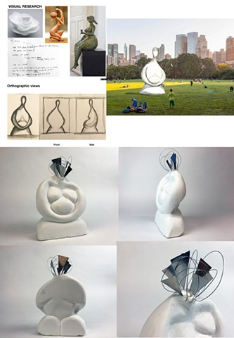 "Qicong Li Parsons School of Design First Year Program:  Space & Materiality Assignment""Social Space- Monument""Design a monument related to your personal culture. Create a site proposal and orthographic drawings."