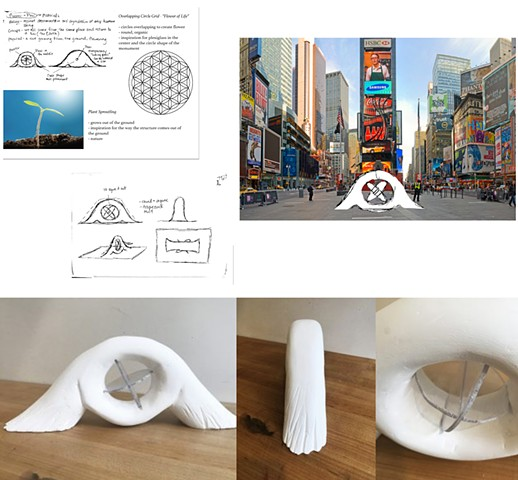 "Joyce Lin Parsons School of Design First Year Program:  Space & Materiality Assignment""Social Space- Monument""Design a monument related to your personal culture. Create a site proposal and orthographic drawings."