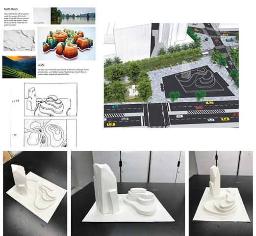 "Calen Cheng Parsons School of Design First Year Program:  Space & Materiality Assignment""Social Space- Monument""Design a monument related to your personal culture. Create a site proposal and orthographic drawings."
