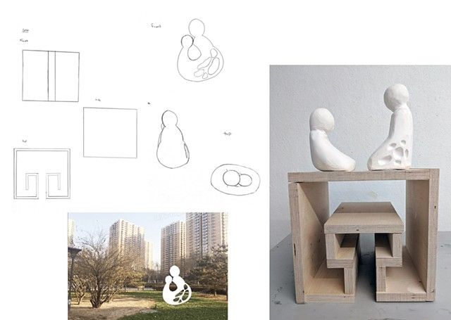 "Mimi Guan Parsons School of Design First Year Program:  Space & Materiality Assignment""Social Space- Monument""Design a monument related to your personal culture. Create a site proposal and orthographic drawings."