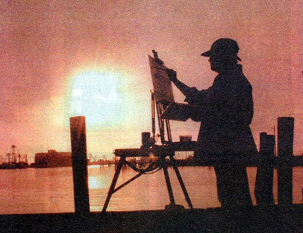 Carol Koutnik 1999 at dawn by Rockport Harbor, TX.. Front Page of the arts section in the Corpus Christi Caller Times.