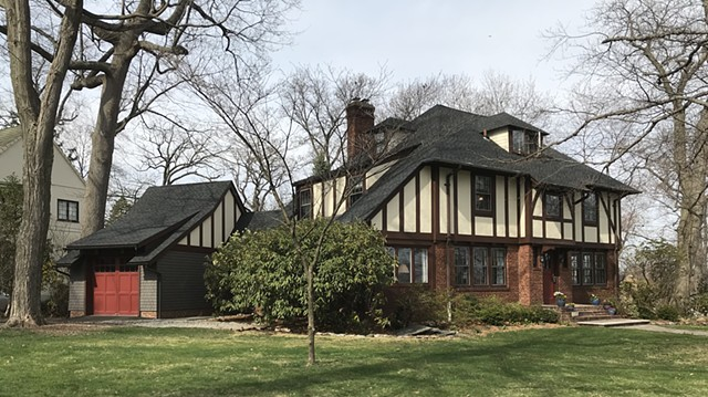 Wright Robinson Architects. Historic District. Addition. Renovation. Custom Garage Door. Real three-coat stucco. Half-timber. Tudor. Cedar shingles. Garage. Breezeway.