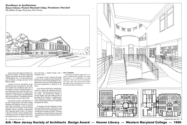 Design award. New Jersey Society of Architects / AIA. Hoover Library building. Western Maryland College. McDaniel College. Karin Robinson. Hillier Group.