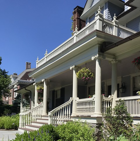 Wright Robinson Architects. Historic District. Addition. Restoration. Renovation. Colonial Revival. Porch. Custom railing. Scamozzi Ionic. Code Compliant Classicism. Repeat client. AIA design award.