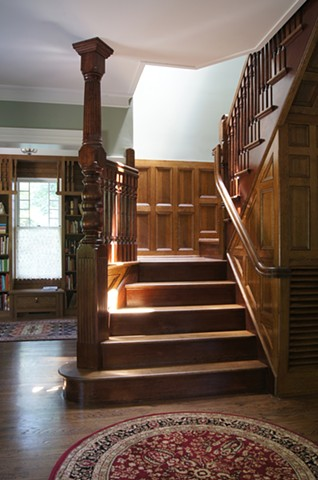 Wright Robinson Architects. Renovation. Stair. Skylight. Queen Anne. Aesthetic Movement. Shingle Style. Custom Railings.