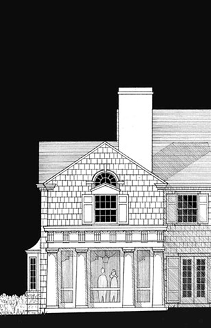 Wright Robinson Architects. Addition. Renovation. William Bunker Tubby. Apawamis Club. Rye NY. Harrison NY. Cedar shingles. Custom wood siding. Historic District. Colonial Revival. Greek Doric. Screened Porch.