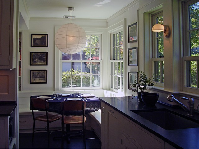 Wright Robinson Architects. Historic District. Renovation. Custom Kitchen. Linoleum. Paper Lantern.