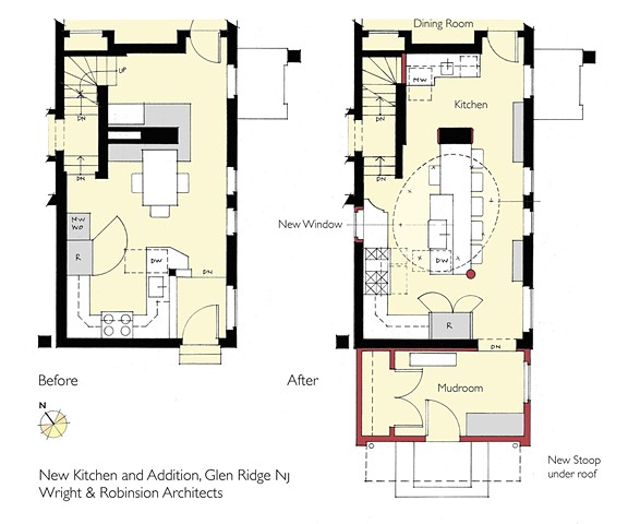 BEFORE/AFTER PLANS  New Kitchen with Mudroom Addition,  Hillcrest Residence 2,  Glen Ridge NJ Historic District