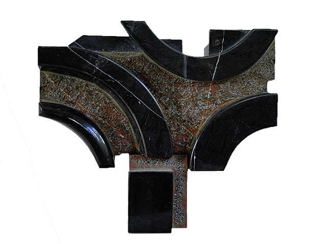 Cuban black marble Sculpture Chillida anvil style represents dreams humility by Aramis Justiz