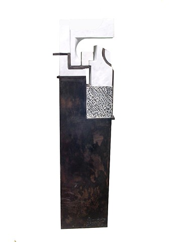 Cuban marble steel Sculpture Chillida anvil style represents dreams integrity by Aramis Justiz