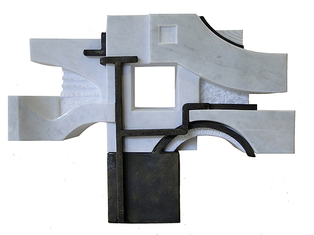Cuban marble steel Sculpture Chillida anvil style represents dreams integration by Aramis Justiz