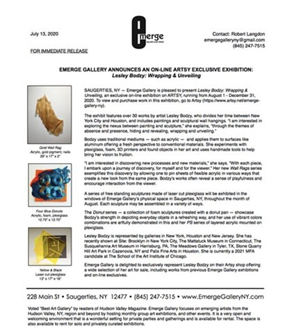Press Release for Wrapping and Unveiling Exhibition at Emerge Gallery in Saugerties, NY