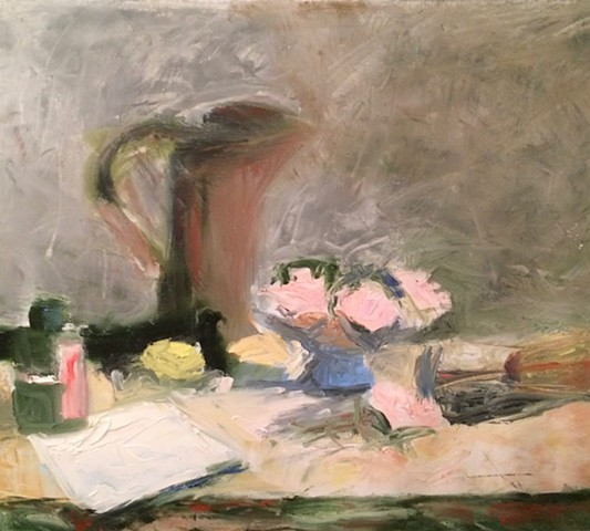 Inkwell and Pink Flowers