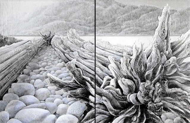 Large diptych acrylic on canvas Landcape multimedia howe sound bc