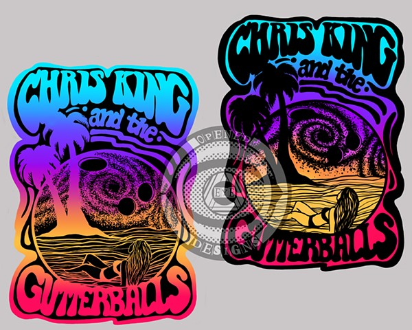 Chris King and the Gutterballs sticker/tshirt design