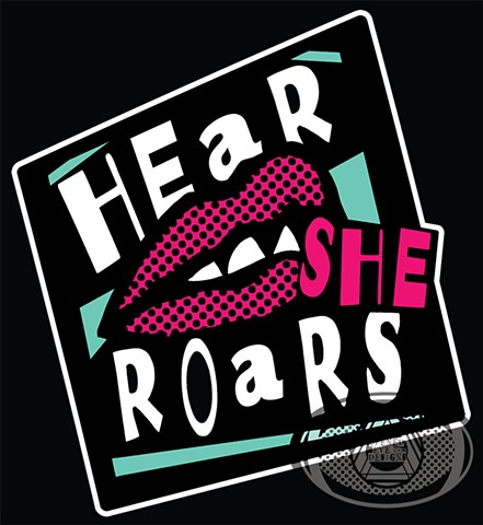 Logo for the blog hearsheroars.com featuring women in the underground music scene
