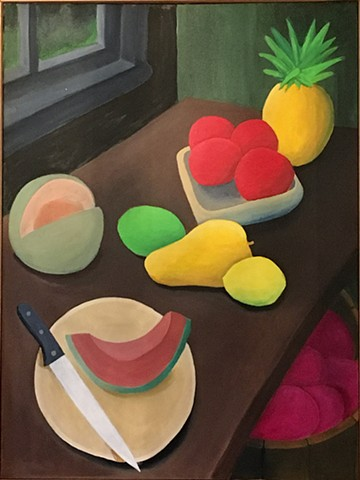 Arrangement of Fruits and a Cantaloupe Slice