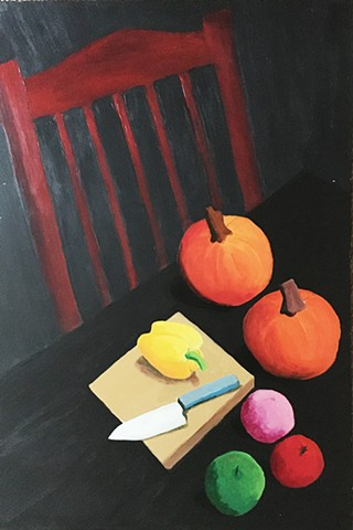 Two Pumpkins, Three Fruits and a Yellow Pepper on a Cutting Board with a Knife