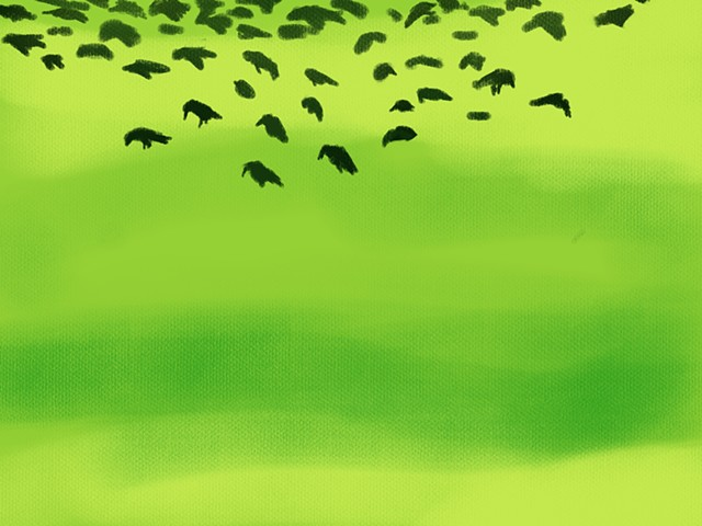 Memory Drawing-Starlings in the grass