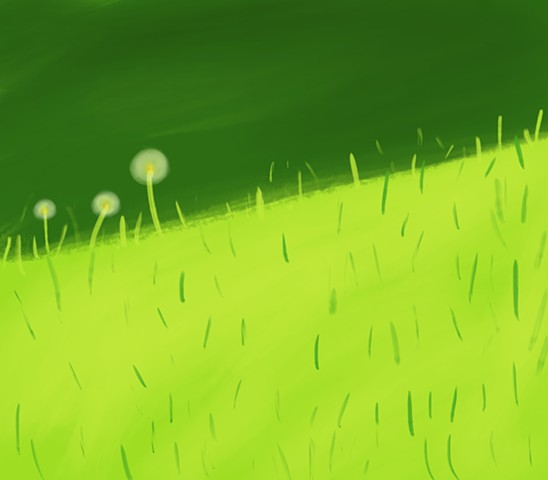Memory Drawing- Dandelions in the sun