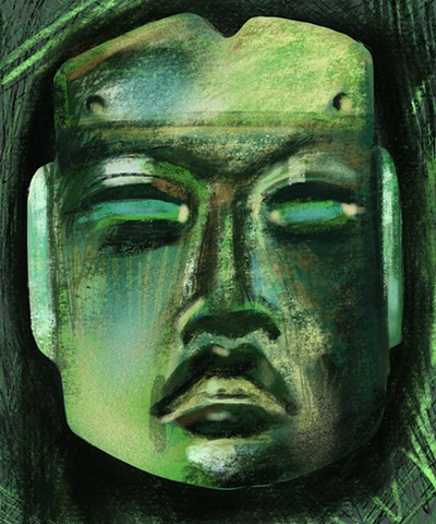 Replicator Series - Jade Olmec mask