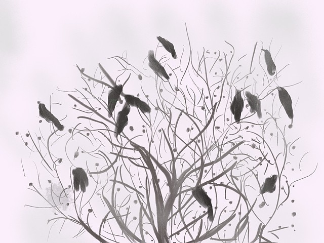 Memory Drawing- Bare tree with Grackels