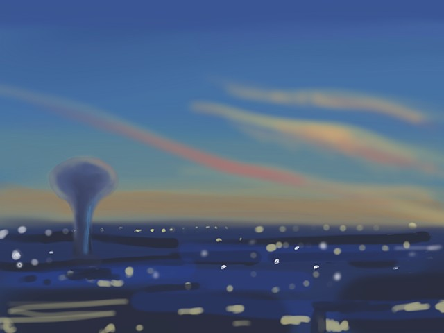 Memory Drawing- Water Tower Sunset
