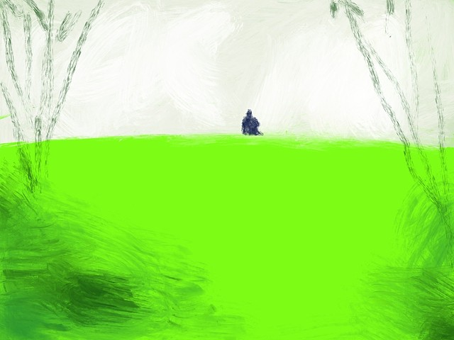 Memory Drawing- Someone sitting alone in the grass