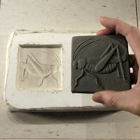 "Grasshopper tile fresh out of the mold.  Ceramic  3"" x 3"""