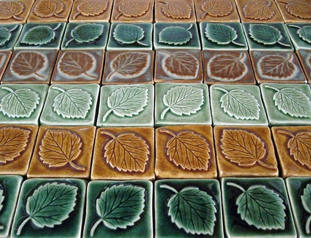 "Multi-colored aspen leaf tiles  Ceramic  Each tile is 2""x 2"""