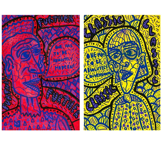 """One has to be absolutely modern! One has to be absolutely conventional!""   48x33cm each  Acrylic paint and Posca marker on paper"