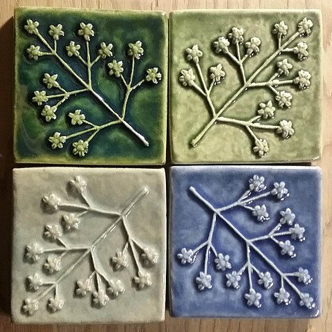"""Delicate Floret"" tiles  Ceramic titles in Multiple glazes  4""x 4"""
