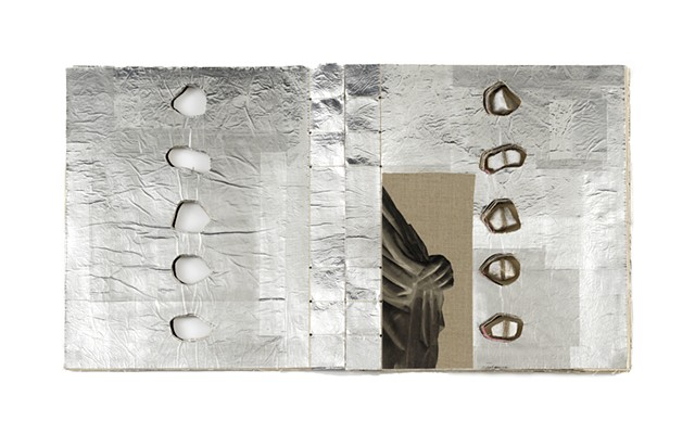 A one of a kind artist's book by Dianna Frid, made with cloth, photographic transfers, thread, and marble