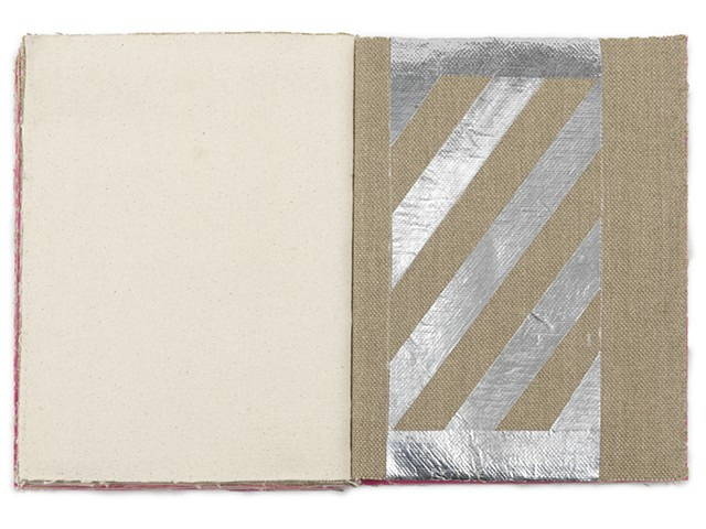 A one of a kind artist's book by Dianna Frid, made with cloth and thread. It explores the relationship between the structure of the page and the loom as a way to connect text and textile at their etymological root.