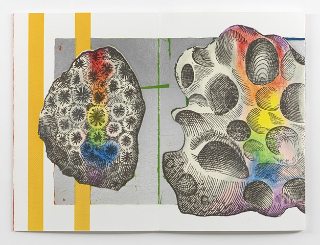 *EL PRISMA EN TUS MANOS* is a twenty-two color lithograph with aluminum leaf and chine collé. It was printed by hand from fifteen aluminum plates made from mylars drawn by Dianna Frid using brushes, acrylic paint, crayon, and photocopies. The lithographic