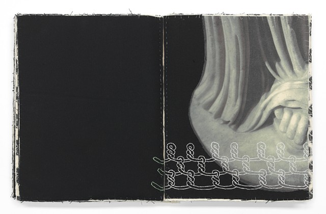 A one of a kind artist's book by Dianna Frid, made with cloth, photographic transfers, and thread. The book focuses on the cloth and hairstyles carved in Greco-Roman Sculpture
