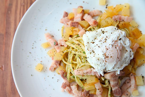 Pork Belly Hash with Cilantro Pasta and a Poached Egg