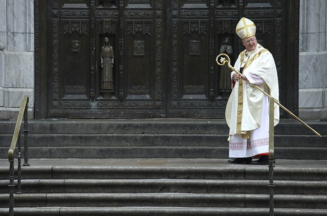 Cardinal Timothy M. Dolan arrives at St. Patrick's Cathedral for Cardinal Edward M. Egan's funeral on March 10, 2015; it was Cardinal Egan's wish to have Cardinal Dolan officiate his funeral.