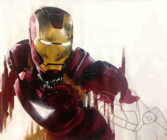 Painting of an still from the set of Ironman 2
